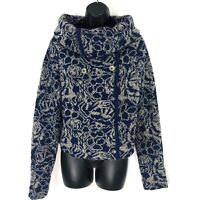 Anthropologie Sleeping on Snow L Sweater Blue Wool blend Crop Cowl Zip Cardigan