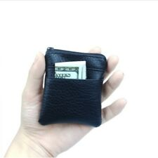 Men Mini Leather Coin Purse Wallet Change Bag Card Hold Zipper Clutch Handbag BI