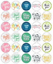 30 x Thank you Edible Cupcake Toppers Wafer Paper Fairy Cake Topper
