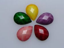 100 Mixed Color Flatback Resin TearDrop Cabochon Gems 10X13mm Imitation Gemstone