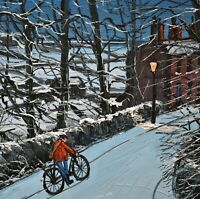 Lovely James Downie Original Oil Painting - Riding Up Another Hill In The Snow