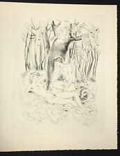 Erotic Dry-Point Etching by Schem from  Lady Chatterly  DH Lawrence Paris: 1956