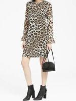 NWT Banana Republic $139 Women Leopard Print Ruffle-Cuff Shift Dress 00P, 0P, 2P