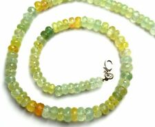 Natural Gem Prehnite Super Quality 7 to 9MM Facet Rondelle Beads Necklace 17""