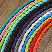 Twist Silk Braided Vintage Fabric Electric Cable Lighting Lamp Flex 3Core 0.75mm