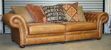BEAUTIFUL ALEXANDER & JAMES 3 SEATER LEATHER/FABRIC SOFA WITH SOFT CUSHIONS