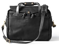 NEW! FILSON BRIEFCASE COMPUTER LAPTOP BAG LARGE BLACK #70257 + FREE FINISH WAX!