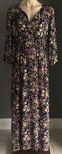 SILVER WISHES Floral Print Elastic Waist 3/4 Sleeve Side Slit Maxi Dress Size 14