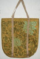 """ANDOVER Brown Floral Quilted Tote Bag 19"""" x 20"""" Cotton Fabric Lace Trim Handmade"""