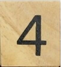 INDIVIDUAL WOOD SCRABBLE TILES! 8 FOR $2, OR 25 CENTS PER TILE. NUMBER 4 four