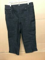 Ruby Red Womens Pull on Extra Stretch Denim Cropped Capri Black Size 12