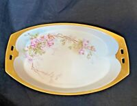 """Victorian China Oval Dish 9"""" x 5"""" Trinket Bowl Hand Painted Gold Antique 33/181"""