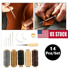 14pcs Leather Waxed Thread Stitching Needles Awl Hand Tools Kit DIY Sewing Craft