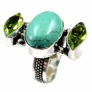 30.65Cts Natural Green Turquoise Gemstone Silver Overlay Handmade Ring Size 7