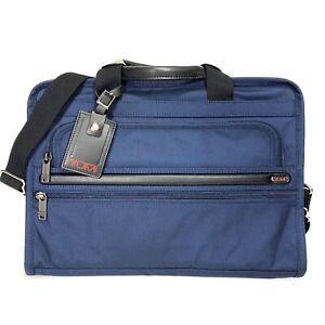 TUMI Alpha Bravo Slim Deluxe Portfolio Ballistic Nylon Briefcase Bag Blue