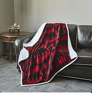 Red and Black Bear Flannel Throw Blanket