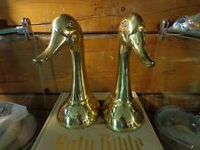 "Metal Figural 9"" Tall Duck Head Bookends Korea Brass Rustic Cabin Decor"