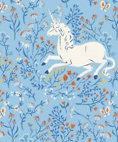Unicorn Fabric 100% Cotton Windham Heather Ross 20th Anniversary Collection Blue