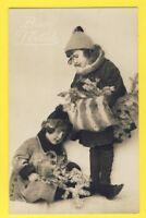 carte postale ancienne BUON NATALE BONNE ANNÉE Enfants sapin Manchon Fourrure