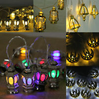 10 LED Ramada Moon Eid LED String Fairy Light Islamic Party Decor Lantern Castle