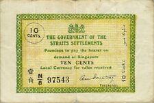 Straits Settlements P-6 10 cents 1920