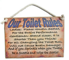 Country Printed Quality Wooden Sign with Hanger OUR TOILET RULES Funny Plaque...