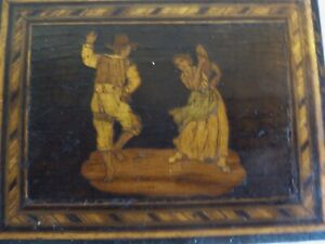OLD ANTIQUE SORRENTO WOODEN LIDDED BOX