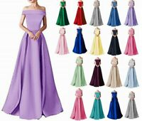 Stock New Satin Boat Neck Bridesmaid Prom Dresses Formal Evening Party Gown 6-20