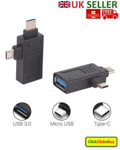 USB 3.1 2-in-1 Type-C and Micro USB to USB 3.0 Female OTG Adapter Convertor