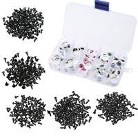 100pcs 6-12mm Plastic Safety Black/White Eyes for Bear Doll Animal Crafts Box