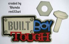 BUILT BOY TOUGH tool play title paper piecing Premade Scrapbook Pages by Rhonda