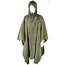 More details for poncho 100%waterproof hooded drawstring press-stud rubberized german army og vgc