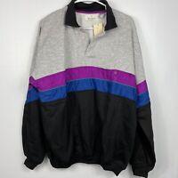 Bill Blass Menswear Deadstock Vintage NWT 1/4 Collard Button Pullover Large