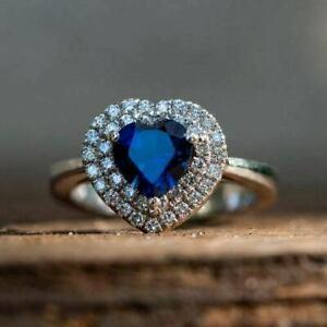 3Ct Heart Shape Blue Sapphire Double Halo Engagement Ring 14K White Gold Finish