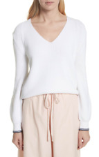 Vince Womens White Bishop Sleeve Sweater Sz S 5815
