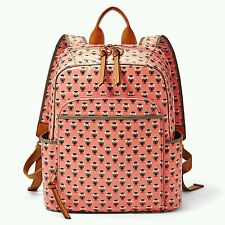 $158 NEW Fossil KeyPer Backpack Canvas Coral Multi Owl SHB134393 NWT Pattern Bag