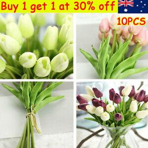 Artificial Tulip Flowers False Fake Bouquet Real Touch Wedding party Décor QW
