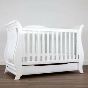 Boori Sleigh white bed with drawer and SINGLE BED conversion