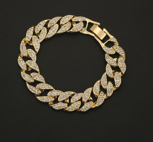 Pulsera cubana de diamantes cadena de eslabones con hielo manilla para hombres