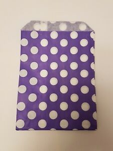 100 paper Purple and white polka dot sweet bags, Baby Shower, Sweet Buffet Party