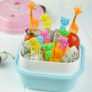 10Pcs Fruit Fork Animal Food Picks Forks Children Cartoon Bento Lunch Decoration