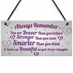Stronger Inspirational Wall Plaque Friendship Gifts Quote Heart Friend Love Sign