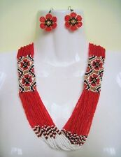 BEADED Ukrainian traditional NECKLACE earrings SET Folk HANDCRAFTED Jewelry