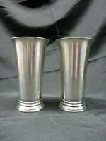 "Two Restoration Hardware Vases Trumpet Shape Silver Metal 8"" Tall (AL)"