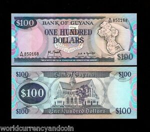 GUYANA 100 DOLLARS P28 1989 MAP CATHEDRAL TREE UNC WORLD CURRENCY MONEY BANKNOTE