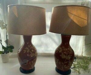 "Vintage Set of 2 Red Floral Ceramic Large Living Room Night Lamp 31"" Tall"