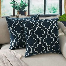 2PCS Cushion Covers Navy Blue Handmade Thick Trellis Diamond Pillow Cases 45x45