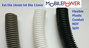16mm Black Grey or White flexible plastic conduit by the metre NOT split