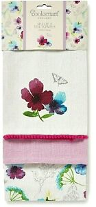 3er Set Geschirrtücher Chatsworth Floral Blumenmuster Baumwolle Cooksmart