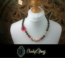 """Ladies Womans Chunky 12mm Mahogany Bead 24"""" Necklace Flower Wood Coral Necklace"""